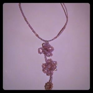 Lavender floral design beaded necklace choker